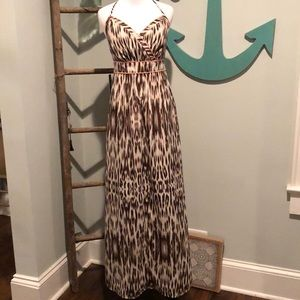 Express halter animal print dress